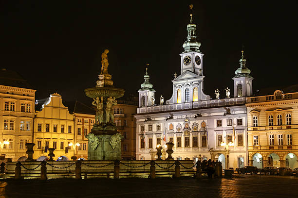 Town square in Budweis stock photo