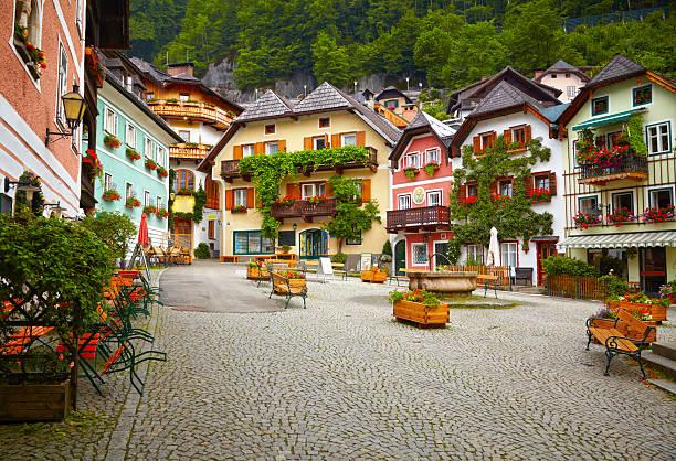 Town square de Hallstatt - foto de stock