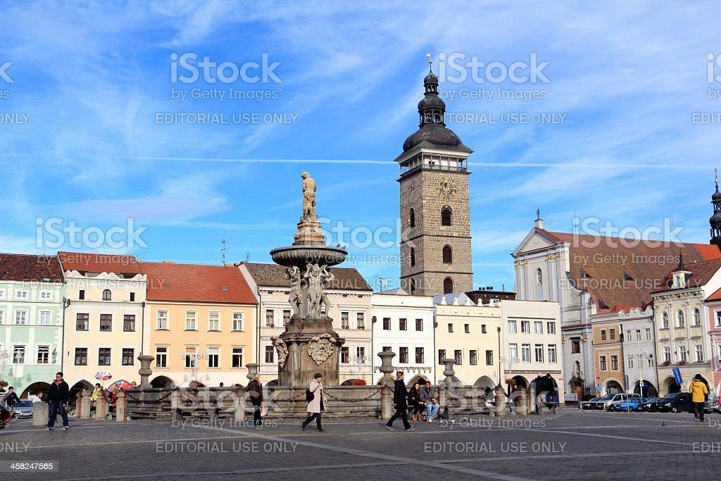 Town Square in the centre of Ceske Budejovice stock photo
