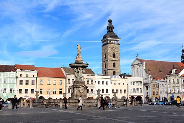 Town Square in the centre of Ceske Budejovice stock photo