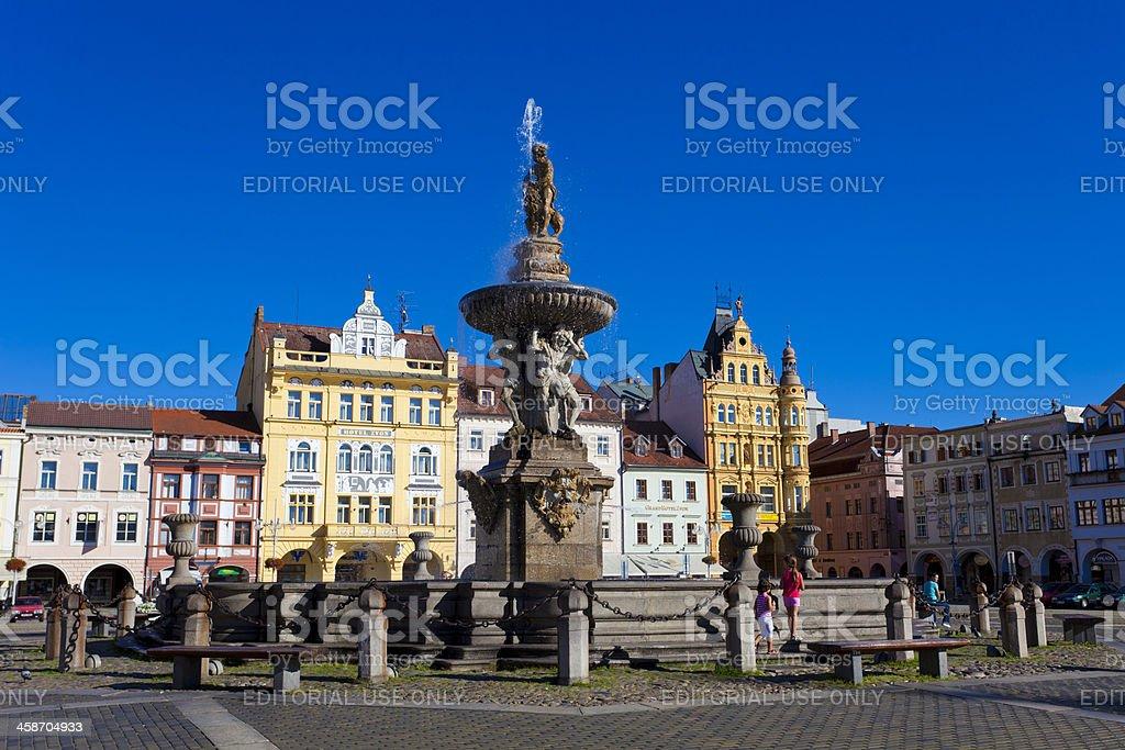 Town Square in the centre of Historic Ceske Budejovice stock photo
