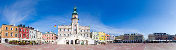 Town square of Zamosc - Poland stock photo