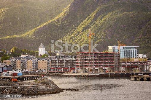 Coast line in the Norwegian town Svolvaer located on the Lofoten islands