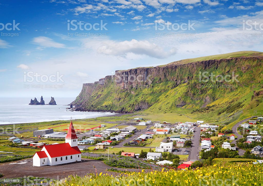 Town Vik at South Iceland stock photo