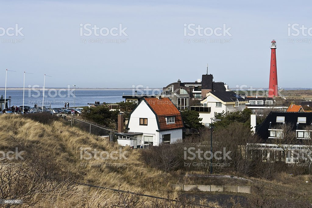Town with lighthouse royalty-free stock photo