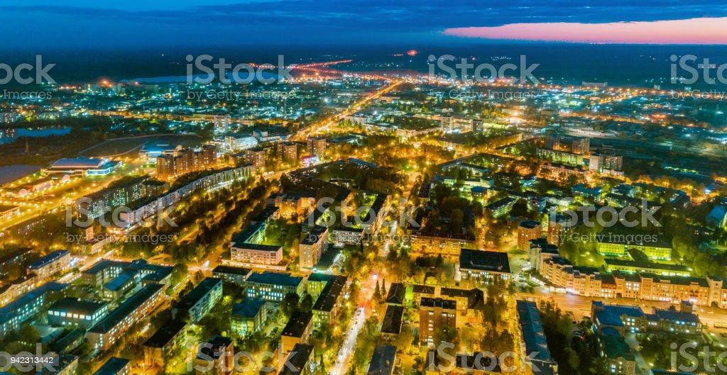 Town Yoshkar-Ola with Night Illumination stock photo