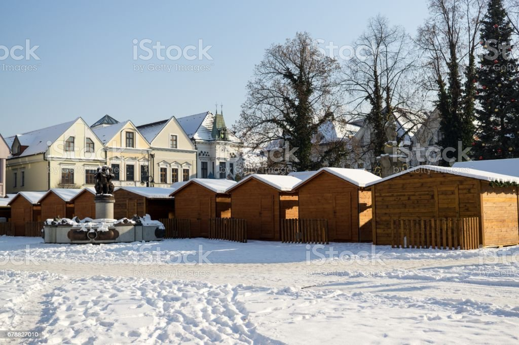 Town Zilina covered by snow. Slovakia royalty-free stock photo