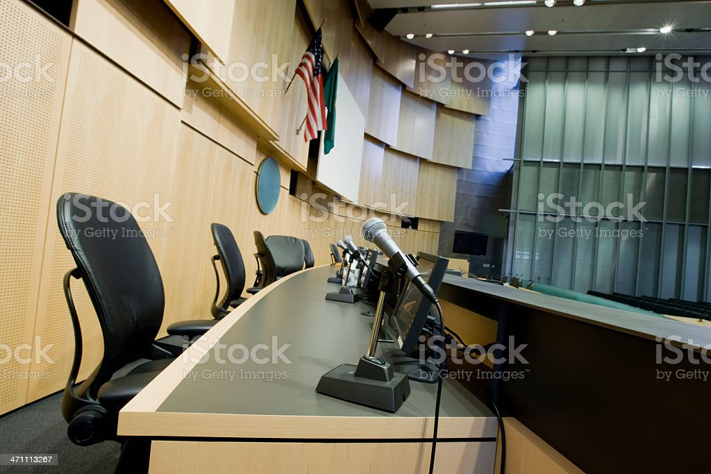 Townhall Courtroom Judges Seats stock photo