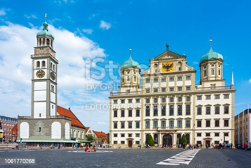 istock Townhall of Augsburg with St. Peter in Germany 1061770268