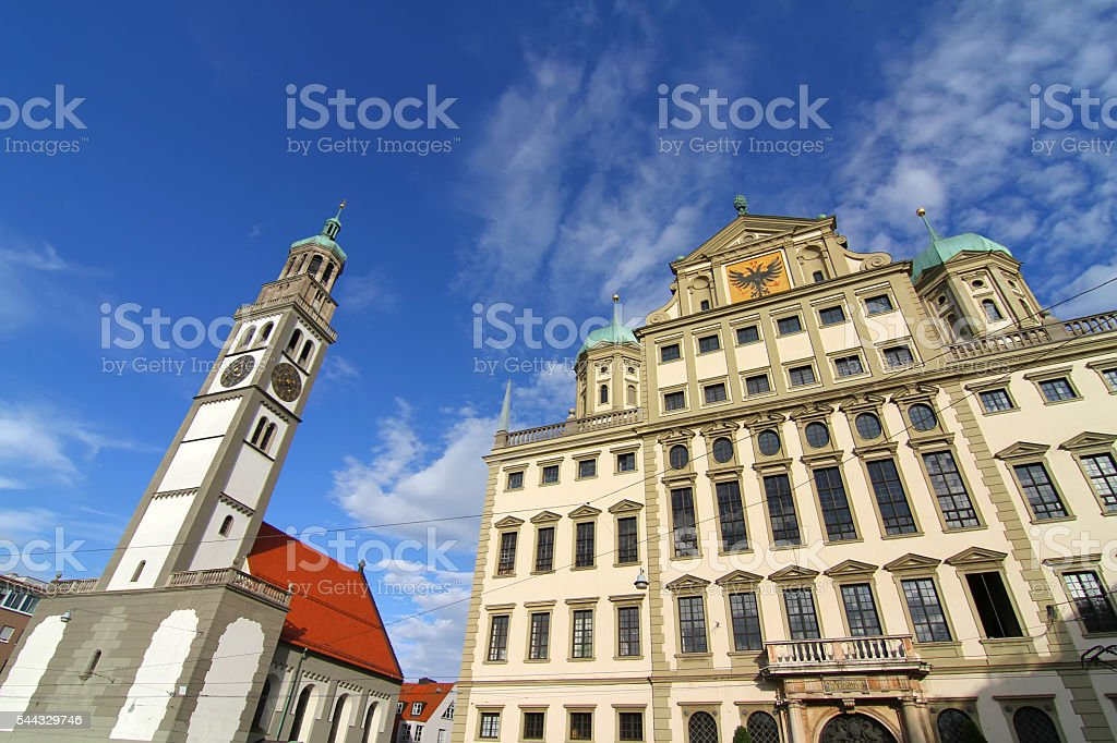 Townhall of Augsburg with St. Peter stock photo