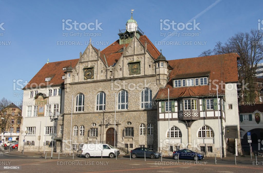 Bergisch Gladbach, Germany - March 16, 2017: Townhall of Bergisch Gladbach during morning hours on March 16, 2017 in Germany, Europe – Foto