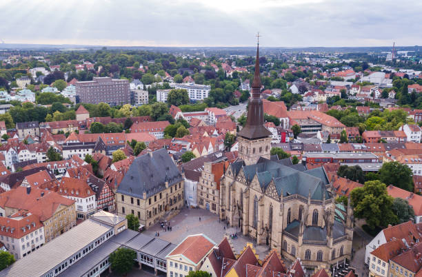 Townhall of osnabrück in germany Skyview of townhall and church in Osnabrück lower saxony stock pictures, royalty-free photos & images