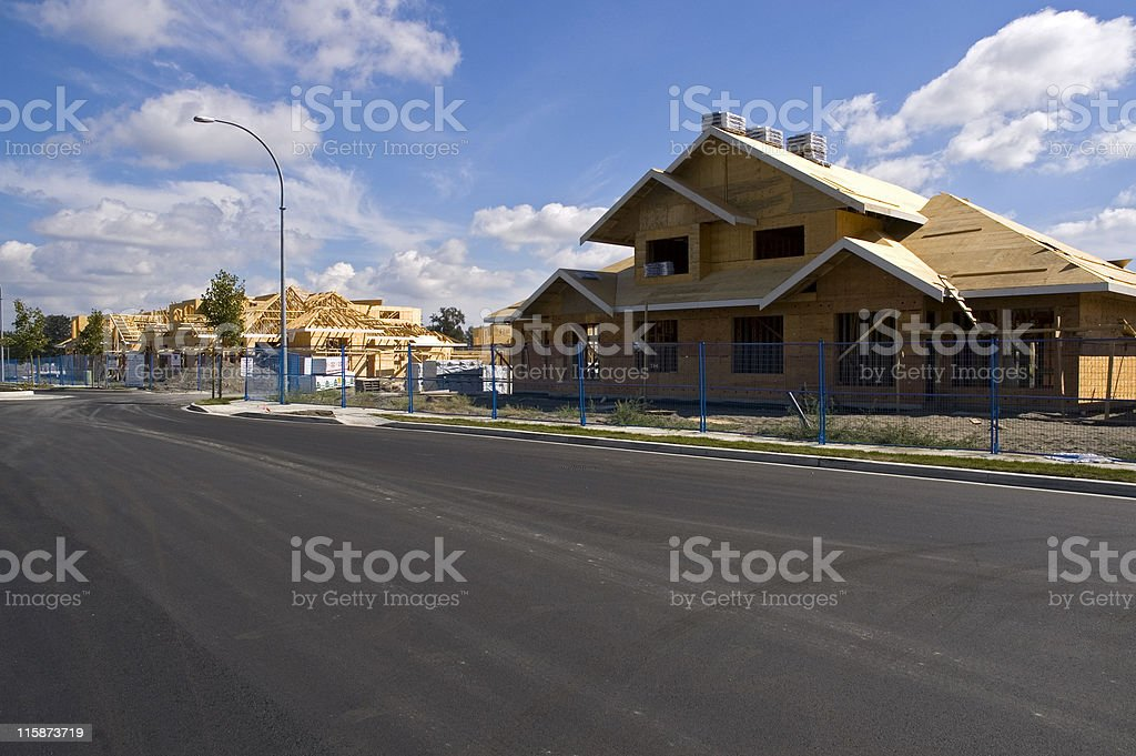 Townhome construction in Vancouver's suburb of Delta stock photo
