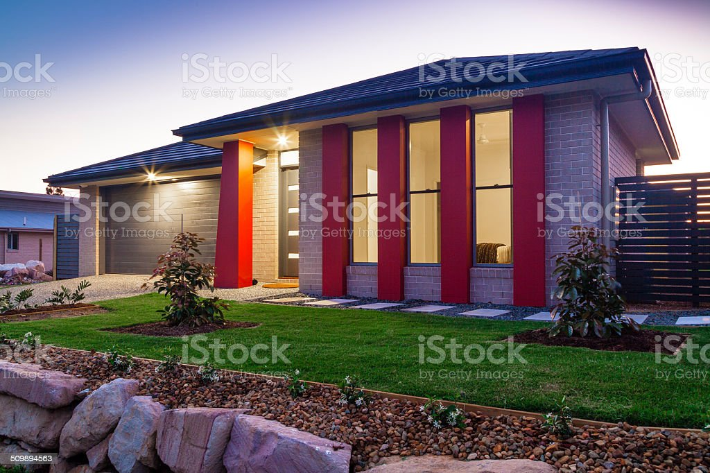 Townhouse at dusk stock photo