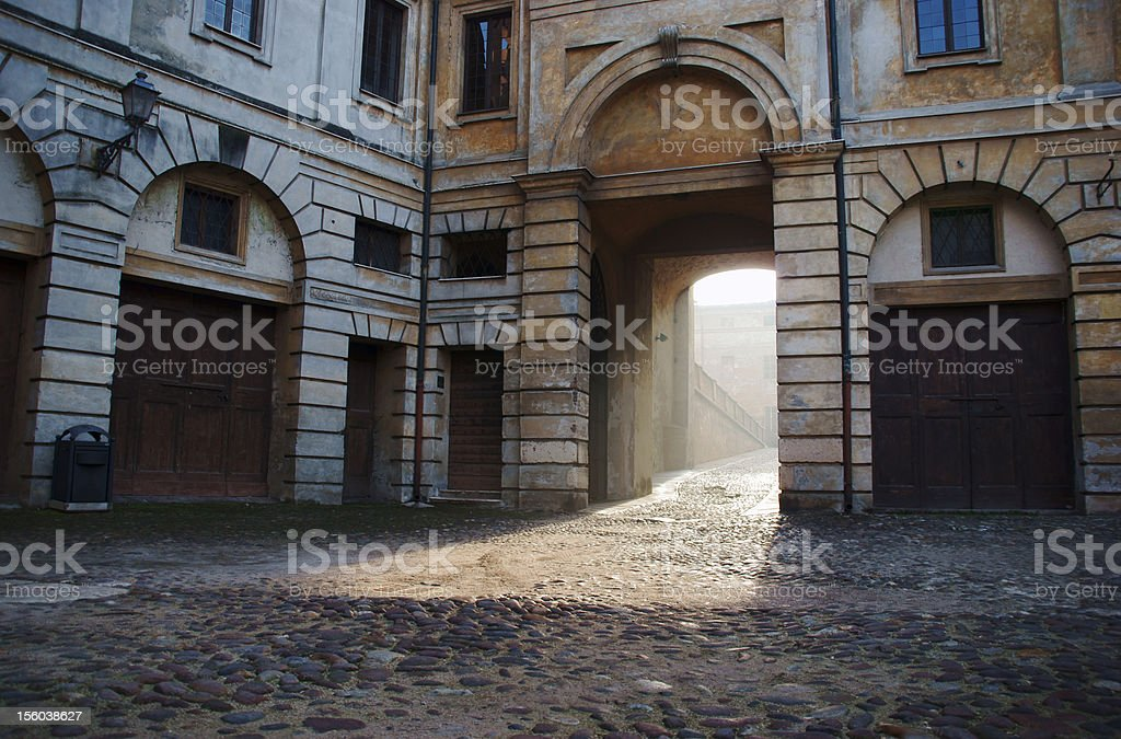 townhouse with gateway in Mantua royalty-free stock photo