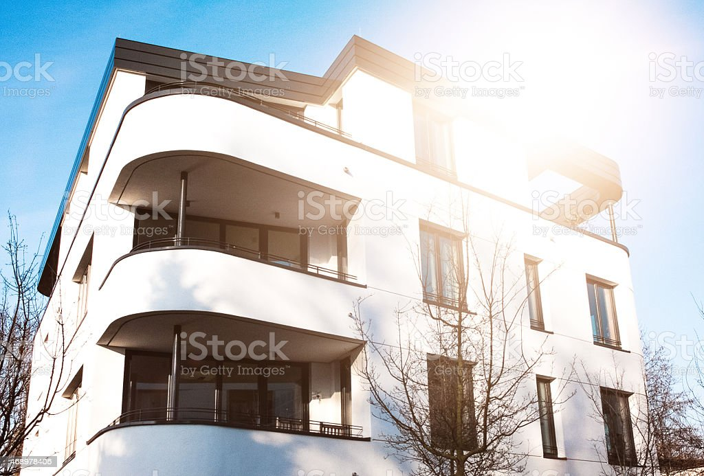 Townhouse with modern architecture stock photo