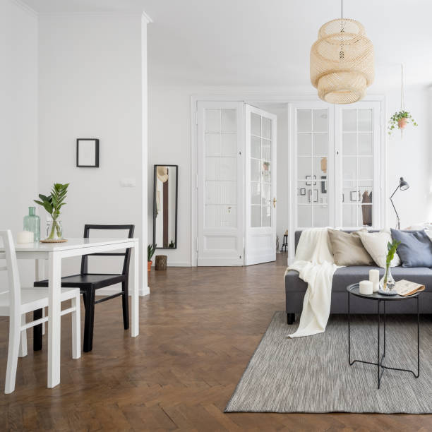 Townhouse with spacious living room stock photo