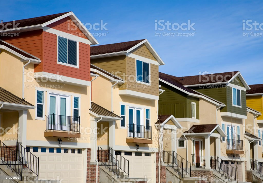 Townhouses and Blue Sky royalty-free stock photo