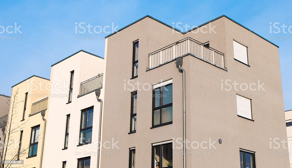 townhouses at berlin with blue sky stock photo