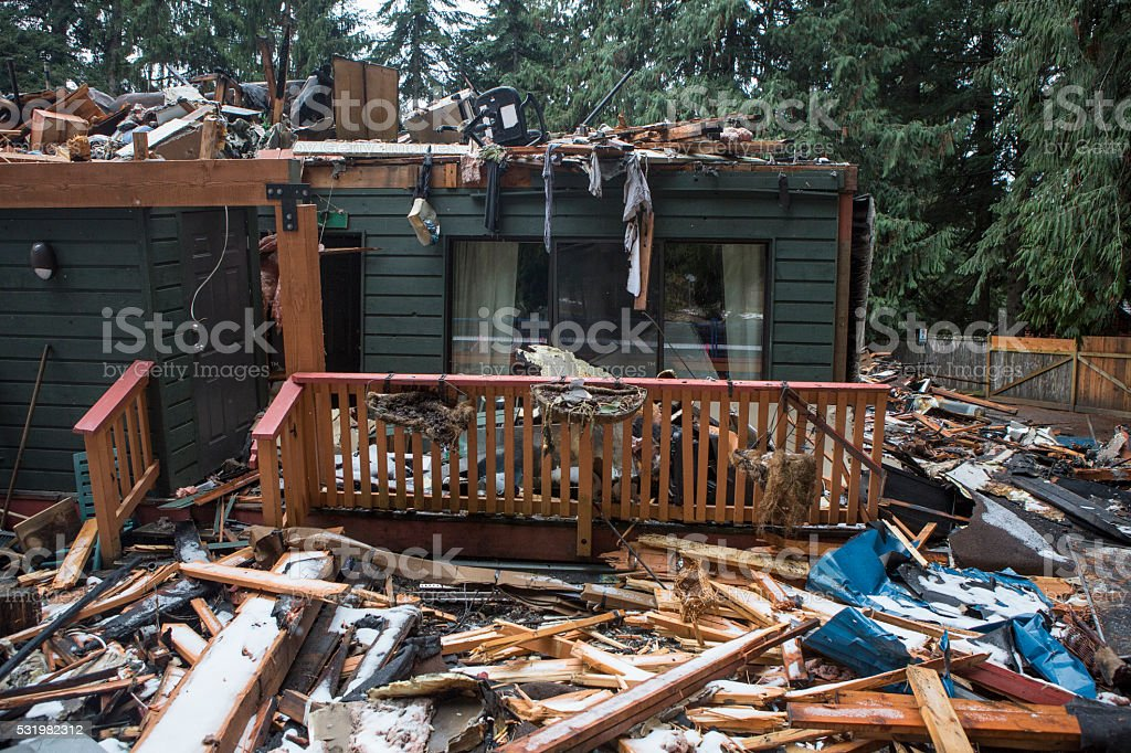 Townhouses destroyed by fire. stock photo