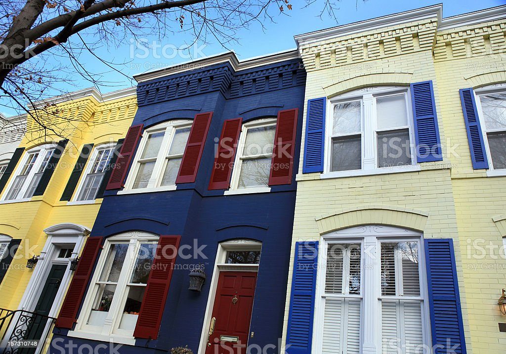 Townhouses in Georgetown Washington DC royalty-free stock photo