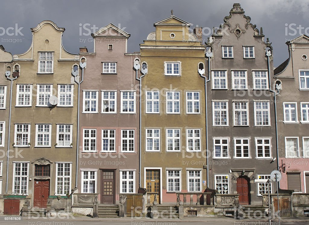 townhouses in the city of gdansk royalty-free stock photo