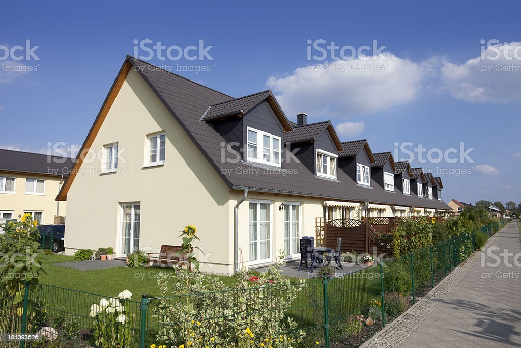 Townhouses with garden royalty-free stock photo
