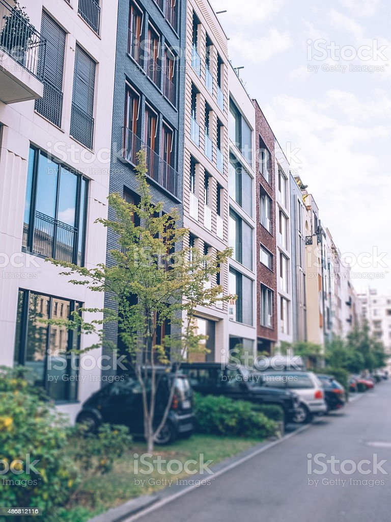 townhouses with street stock photo