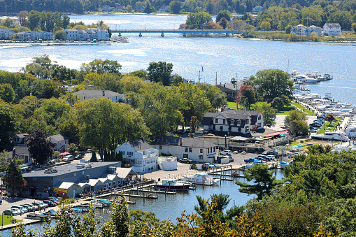 Towns of Douglas and Saugatuck Michigan - Aerial View from the top of Mt. Baldhead - Connected by a bridge over the Kalamazoo river