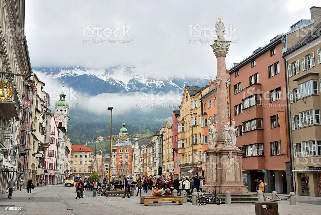 Townscape of Innsbruck, Switzerland. stock photo