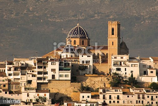 Townscape of the  old town  of Altea with church and houses. Altea is a town in the province of Alicante , located not far from Benidorm,on the Costa Blanca,Spain.