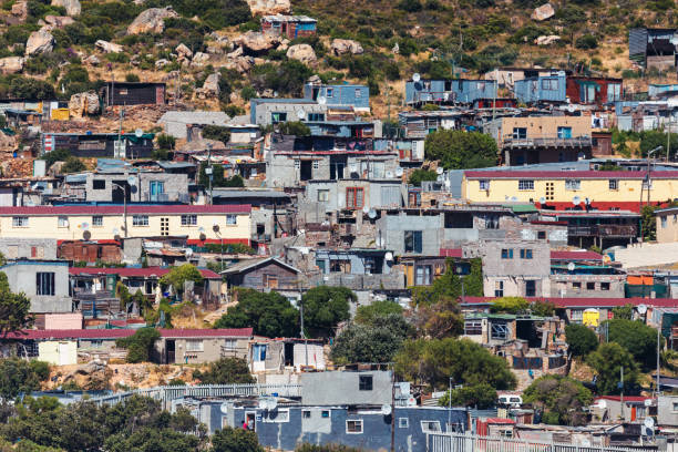 Township view in Hout bay area, Cape Town, South Africa stock photo