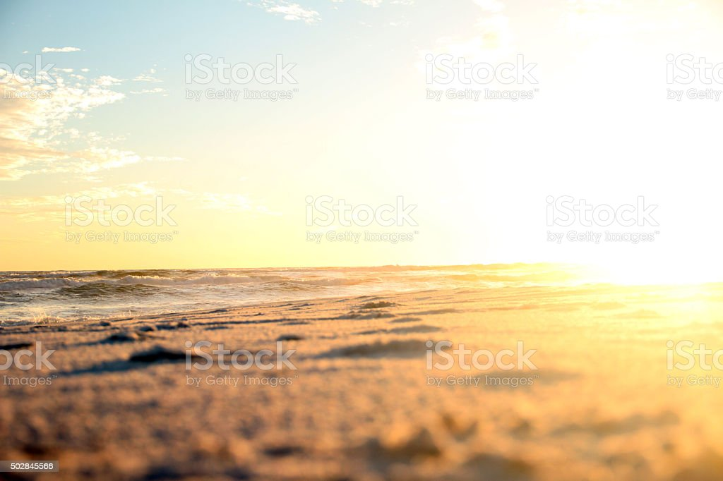 Towrds the sun on the beach stock photo