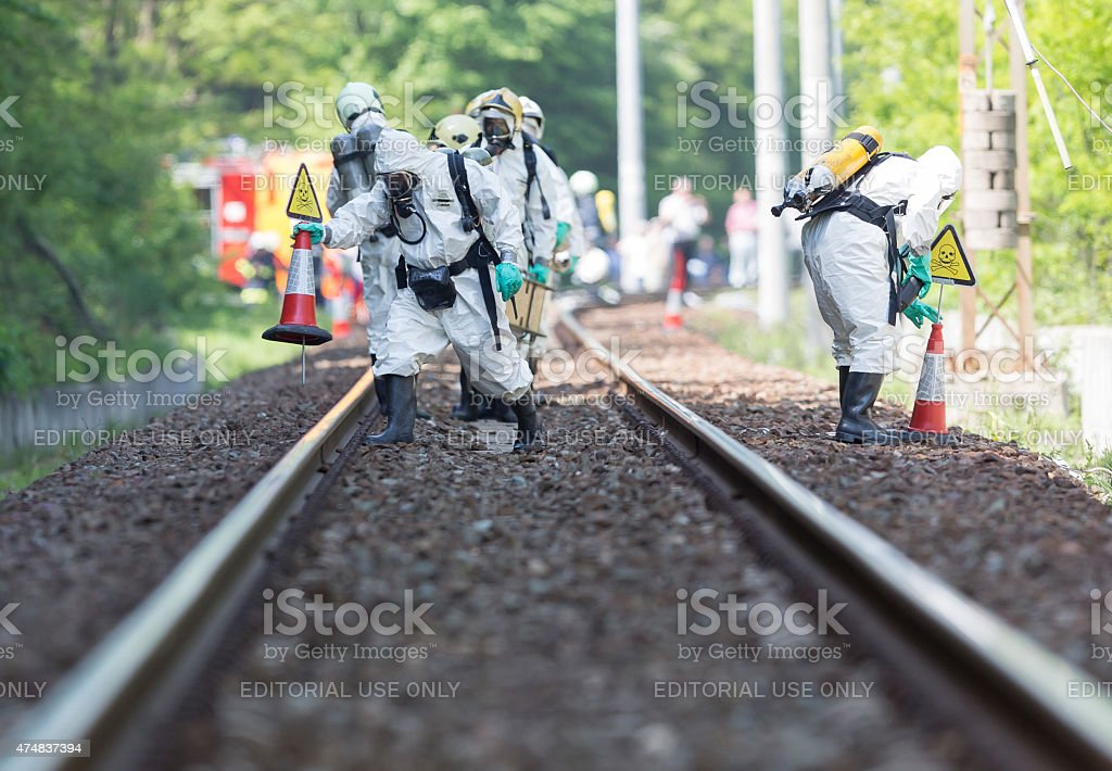 Toxic chemicals and acids emergency team stock photo