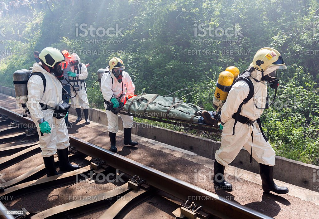 Toxic chemicals emergency rescue people stock photo