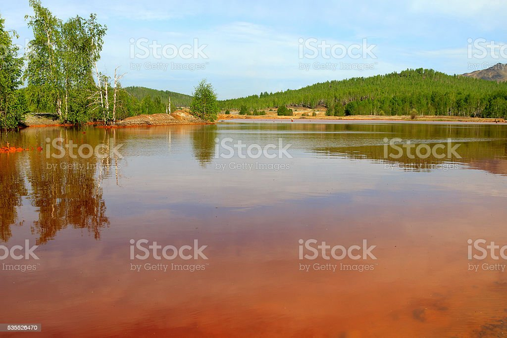Toxic red water stock photo