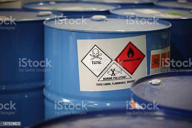 In barrels in a factory.