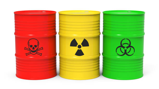 Toxic waste Different barrels with toxic waste isolated on white background 3D rendering hazardous chemicals stock pictures, royalty-free photos & images