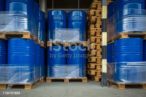 istock Toxic waste/chemicals stored in barrels at a plant 1134701634