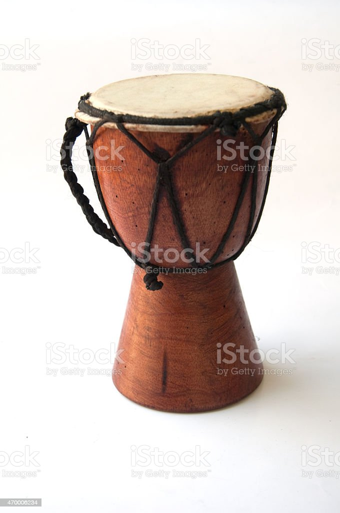 Toy -african drum isolated on a white background stock photo