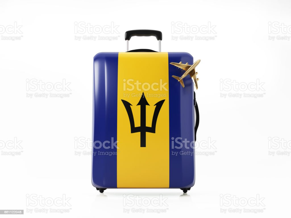 Toy Airplane and Modern Luggage Textured with BarbadosFlag : Travel Concept stock photo