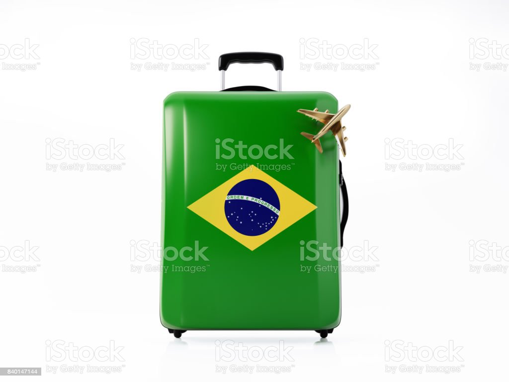 Toy Airplane and Modern Luggage  Textured with Brazilian Flag : Travel Concept stock photo