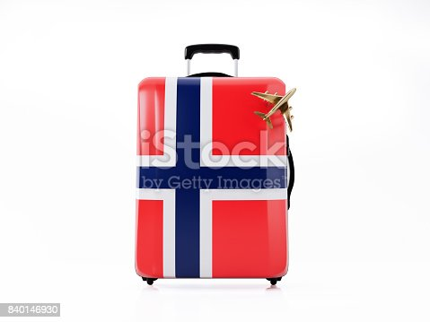 istock Toy Airplane and Modern Luggage  Textured with Norwegian Flag : Travel Concept 840146930