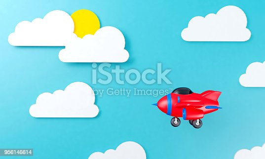 istock Toy airplane flying above cloud sky background flat design 956146614