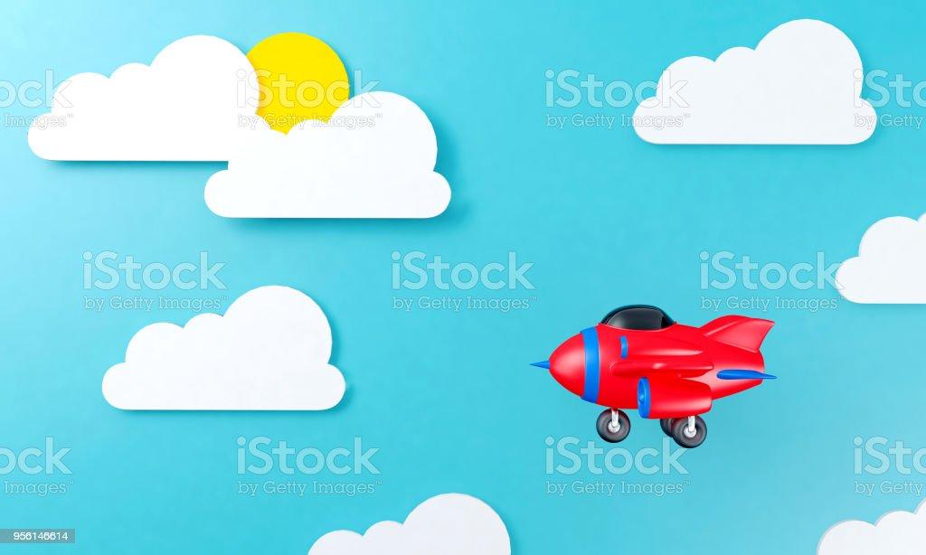 Spielzeugflugzeug fliegen über Wolke himmel hintergrund flaches design – Foto