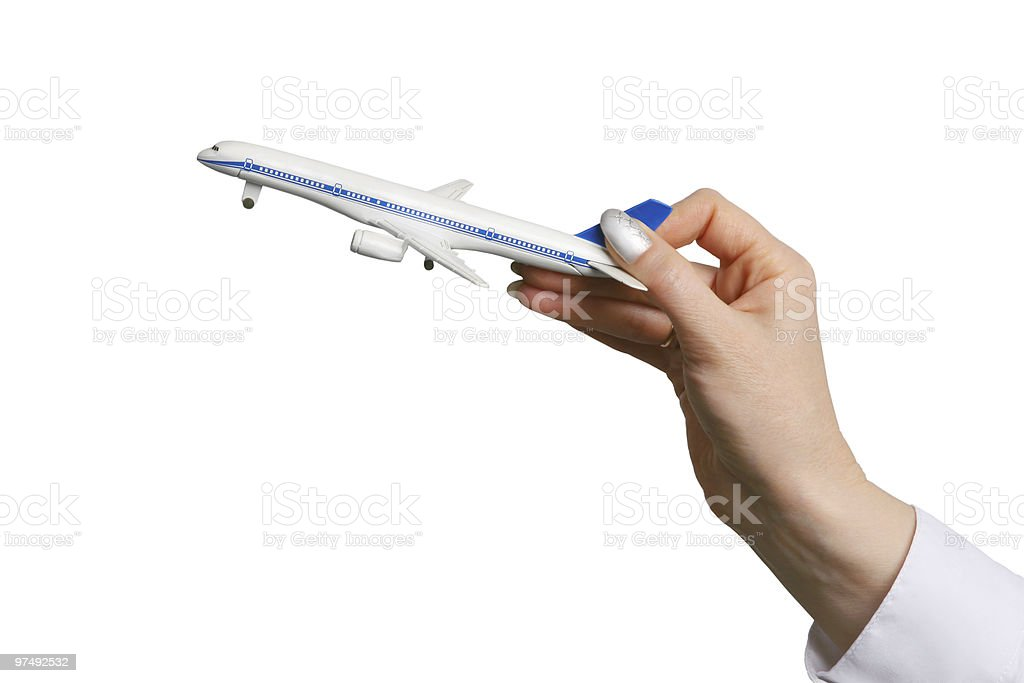 Toy airplane in hand royalty-free stock photo