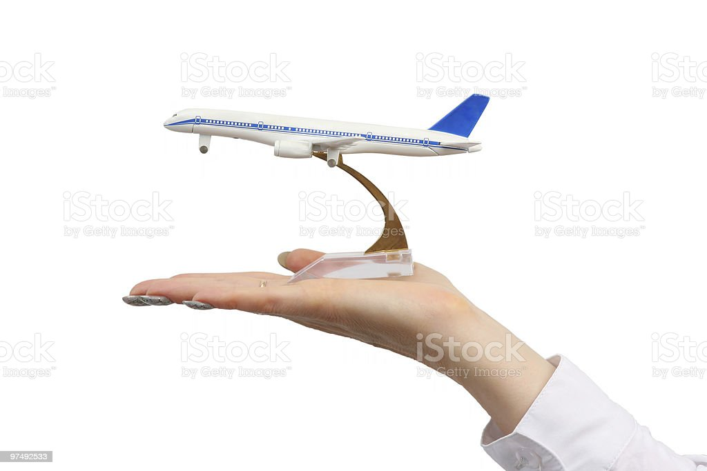 Toy airplane on hand royalty-free stock photo