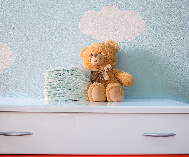 Toy and diapers - foto de stock