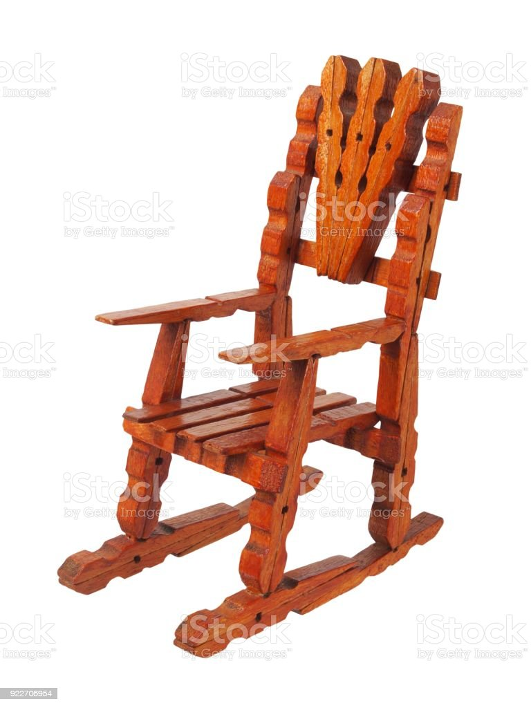Toy armchair made from clothespins stock photo