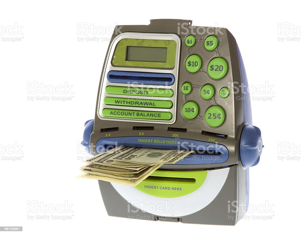 Toy ATM Bank: Hundred Dollar Bills Coming Out royalty-free stock photo